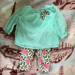 Healthtex Teal/Flowers and Cheetah Matching Set